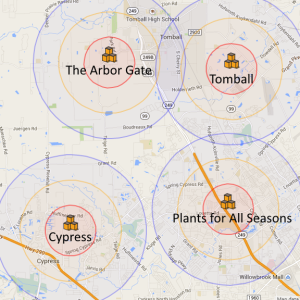 BZ Honey - Coverage areas for our bees in Tomball, Cypress, Arbor Gate, and Plants for All Seasons.