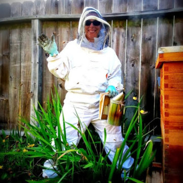 BZ Honey - Kelly inspects our hives to ensure their good health.